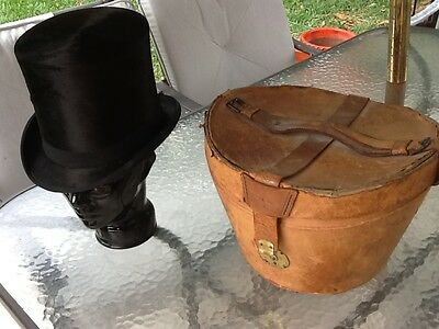 Antique Silk Felt Beaver Top Hat With Leather Case Size 7-1/8