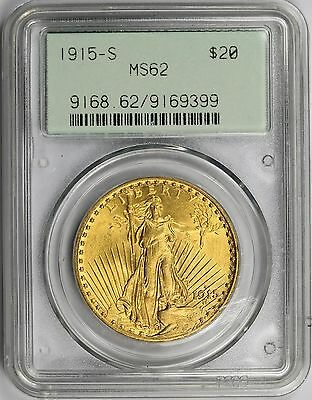 1915-S Saint-Gaudens Gold Double Eagle $20 MS 62 PCGS ~ Security Collar Holder