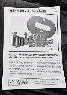 ARRI 16M sales leaflet - mid to late 1960's, excellent condition - VERY RARE