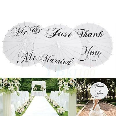 White Bamboo Paper Parasol Umbrella Wedding Favor Just Married Mr&Mrs Thank You