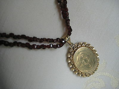 Antike Granat Kette 2 reihig Böhmen m. Medaillon Gold double old garnet necklace