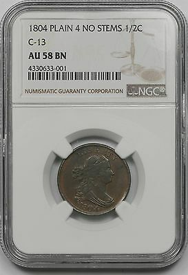 1804 C-13 Plain 4 No Stems Draped Bust Half Cent 1/2C AU 58 BN Brown NGC