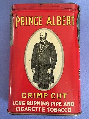 Prince Albert Crimp Cut Tobacco Tin Can No Zip No Weight All Text Back FULL