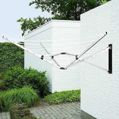 5 Arm 26M Folding Wall Mounted Clothes Airer Dryer Washing Line Outdoor Garden