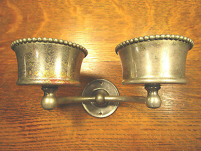Antique Nickel Brass Wall Mount Double Cup Holder Vintage Bathroom Fixture