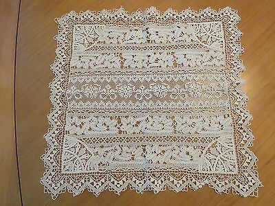 Antique Lace Doily Handmade Normandy Bobbin Reticella Needlelace Mixed Laces