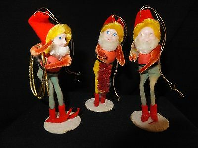 Lot of 3 VINTAGE PIXIE SANTAS  ELF CHRISTMAS ORNAMENT RARE marked from Japan
