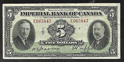 Imperial Bank of Canada - Old 5 Dollar Note - 1939 - S1145G - VF to XF