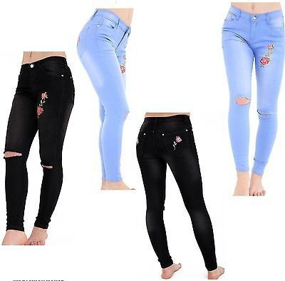 Ladies Skinny Fit Denim Jeans Ripped Distressed Rose Embroidery 8-16