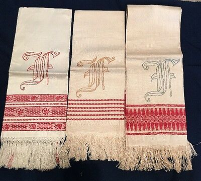 Unwashed Antique Linen Towels F Monogram