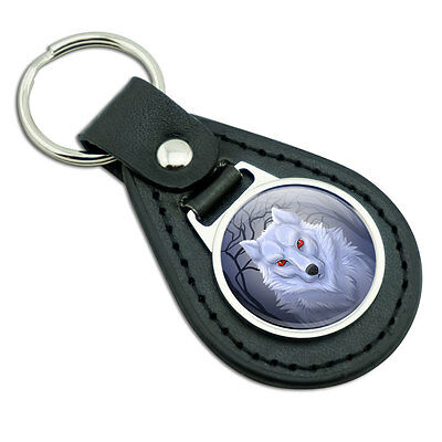 White Dire wolf Black Leather Metal Keychain Key Ring