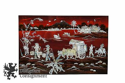 Japanese Red Lacquer Inlaid Mother of Pearl Landscape Villagers Scene Wall Art