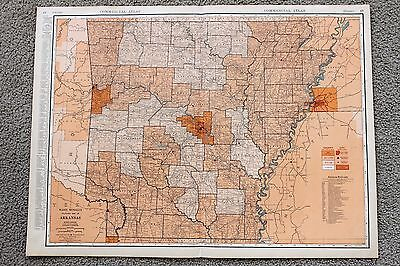 1935 ARKANSAS Railroad Map Large Double Page RR List Routes ORIGINAL