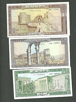 3 Lebanon Currency Notes Pick 62 63 64 Paper Money 5 10 25 Livres