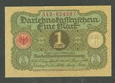 1920 Germany 1 Mark Currency Note Pick 58 Paper Money
