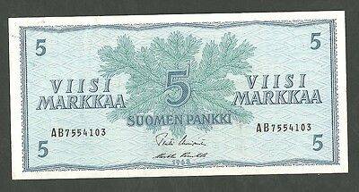 1963 Finland 5 Mark Currency Note Pick 99A Paper Money Currency