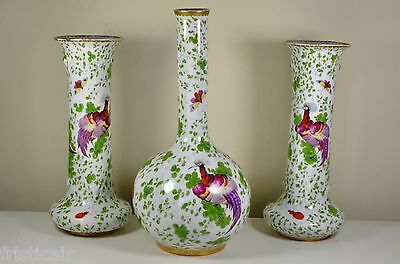 large set of oriental looking vases hand coloured worcester ? chinese ? 11 inch
