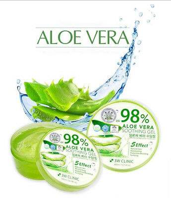 3W CLINIC 98% Aloe Vera & 100% Snail Mucus Pure Soothing Gel Korean Cosmetics
