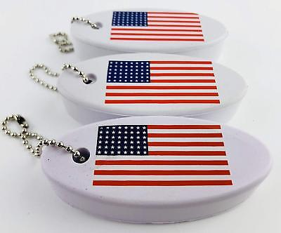 Floating Key Chain with American Flag Logo - Boat Key Float Key USA Flag