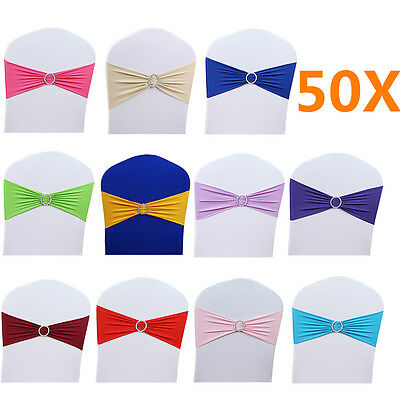 50 pcs Elastic Spandex Buckle Banquet Chair Cover Sashes Bow Band Party Decor GC