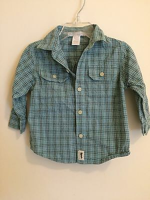 Janie And Jack Baby Boys Long Sleeve Button Down Shirt Size 12-18 Mos. Plaid