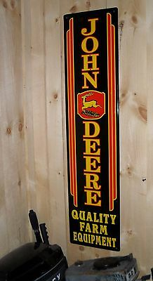 "JOHN DEERE QUAILTY FARM EQUIMENT METAL SIGN - 11-1/2"" x 47-1/2"" RAISED LETTERING"
