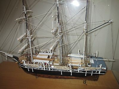 "ship replica, whaler Charles Morgan with baseboard and acrlyic cabinet, 36"" long"