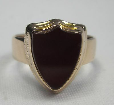 Antique Vintage 15ct Solid Rose Gold Mens Carnelian Shield Solitaire Ring 1948