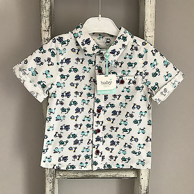 BNWT Baby Boy Shirt Size 12-18 Months White Blue Scooter Summer Top New