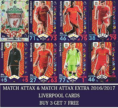 Topps Match Attax & Match Attax Extra 2016 2017 Choose your LIVERPOOL cards