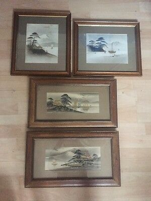Vintage Chinese Japanese Oriental Pictures Boats Lakes Framed And Mounted
