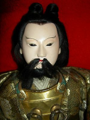Fine Antique JAPANESE SAMURAI seated warrior doll w/glass eyes, armor & sword
