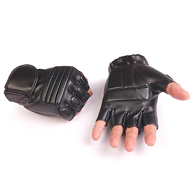 Yingniao Men's Leather Fingerless Motorcycle Driving Cycling Gloves