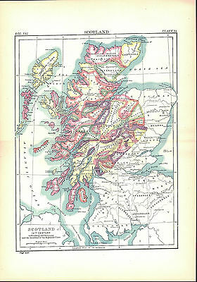 Scotland History 1500s Antique Map 1896