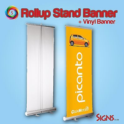 "Retractable Roll Up Banner Stand + Printed Banner 33"" x 80"""