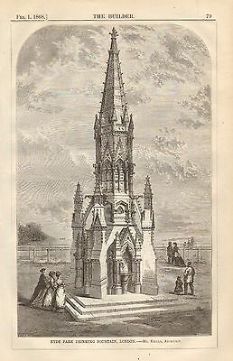 Hyde Park Drinking Fountain, London, Vintage 1868 English Antique Print