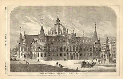 Design For House Of Lords, Vienna, 2pgs. Vintage 1868 English Antique Art Print