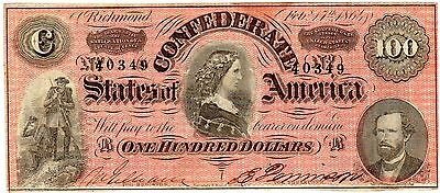 T-65 PF-1 $100 1864 Confederate Paper Money - Deep RED!!