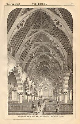 The Church Of St. Jude, East Brixton, Vintage 1868 English Antique Art Print