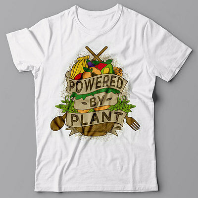 Funny T-shirt POWERED BY PLANT - Vegan Vegetarian gift idea Tee