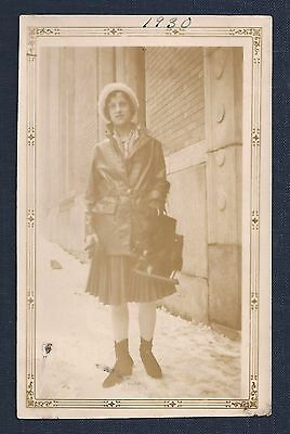 Antique 1930's Photograph of Woman on Street Holding Ice (Hockey) Skates