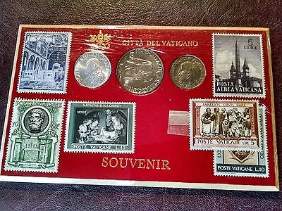 Souvenir Set Saint Pope John XXIII  Coin & Stamp Set Vatican City BU 1960
