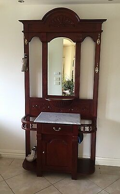 Timber Hall Stand With Marble Top And Mirror
