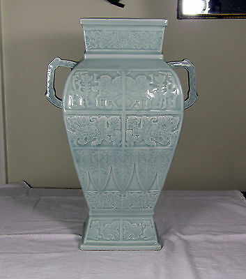 Chinese Youngzheng Celadon Vase, Carved, Antique, 19Th C Or Older