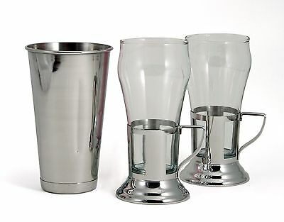 Soda Fountain Glass Set With Stainless Steel Malt Cup TableCraft