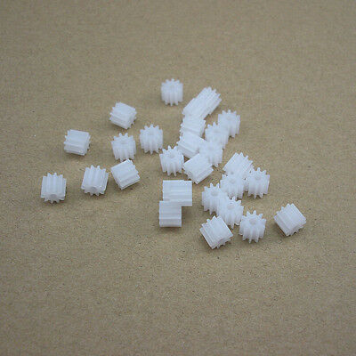 50pcs Plastic Motor Reduction Gear Toy Mainshaft Gears 0.5 Modulus 10T DIY