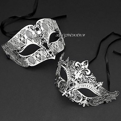 Silver Couple Venetian Metal Laser Cut Masquerade Prom Costume Party Mask