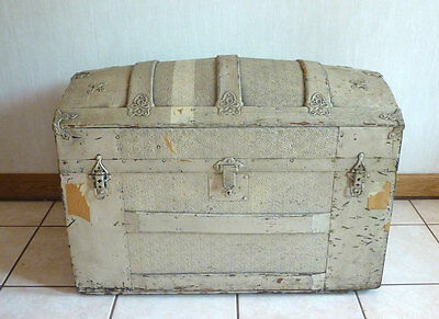 Antique Camel Back Embossed Metal Tin Wood Humpback Steamer Chest Trunk Original
