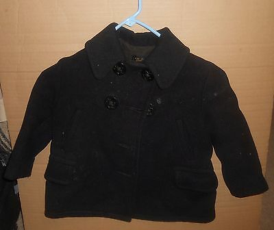 Vintage RARE Andy Hardy Child's Lined Navy Blue Pea Coat