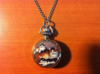 Long Haired Cats Quartz Watch Necklace.